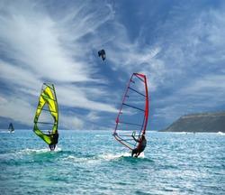 Wind Surfers On The Ocean