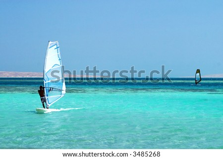 Wind surfing in the summer