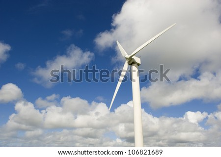 Wind turbine against the cloudy sky.This is in Cornwall (UK).