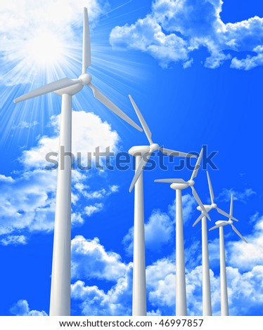 wind turbine and blue sky 3d image background