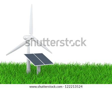 wind turbine and solar panel on a grass field. isolated 3d illustration on a white background