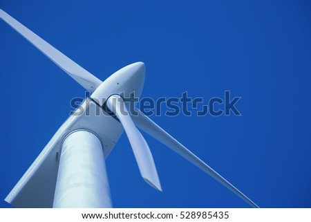 Wind turbine at Esperance windfarm, Western Australia, tungsten processed. Slight motion blur on nearest blade at 100%.