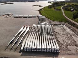 Wind turbine blades storage in Norway, fjord kai