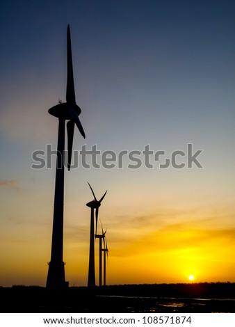 Wind turbine durng sunset