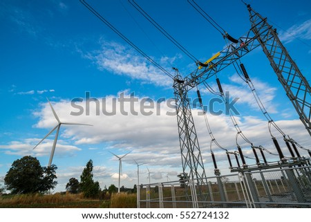 Wind turbine farm and electricity power line. Sustainable development, environment friendly concept. #552724132