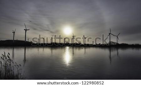 Wind turbine farm in the wadden sea, Esbjerg, Denmark