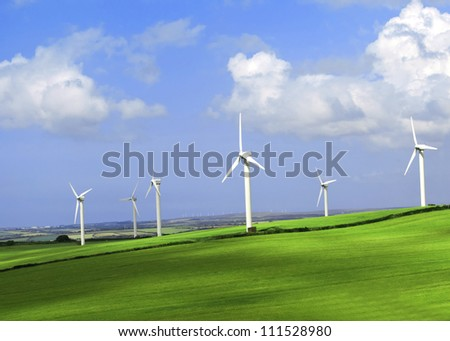 Wind turbine farm on a hillside in Cornwall  England.