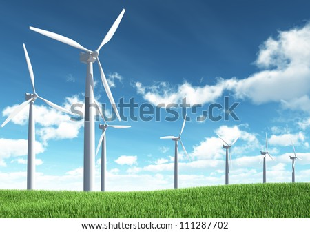 Wind Turbine for alternative energy on background sky