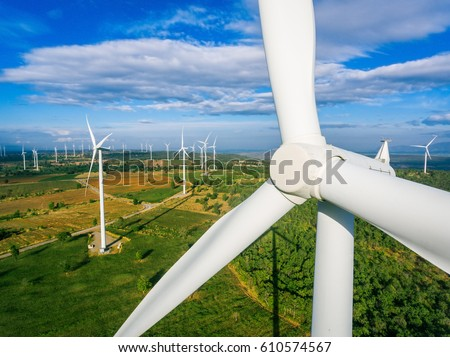 Wind turbine from aerial view - Sustainable development, environment friendly, renewable energy concept.