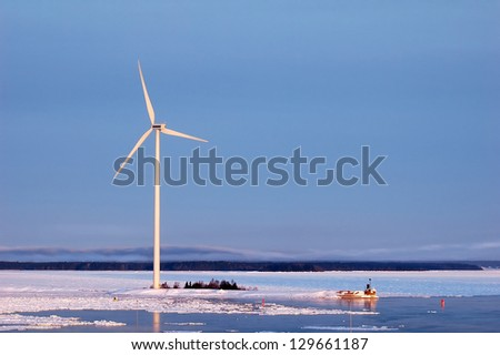 wind turbine generating electricity at seaside in Sweden