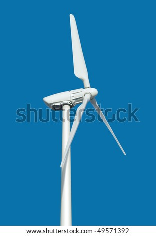 wind turbine generating electricity on blue background with path