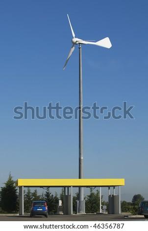 wind turbine in a gas station