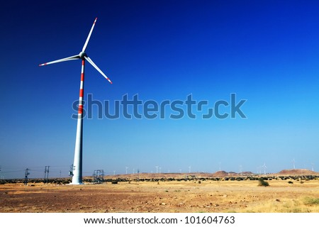 Wind turbine in Thar Desert, India, Asia