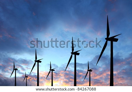Wind turbine in the sunset