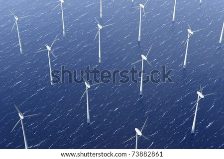 Wind turbine in the water park for offshore energy
