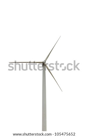 Wind turbine isolated on white background, environment friendly energy, Thailand