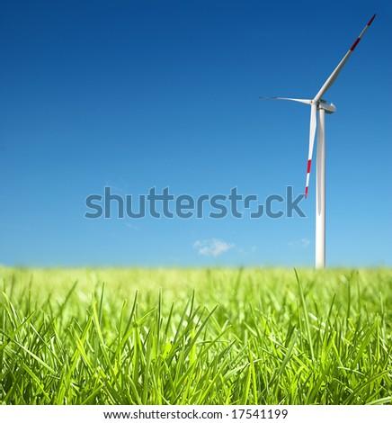 Wind turbine on a field