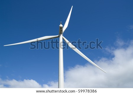 Wind turbine on a wind farm in Scotland, Europe.
