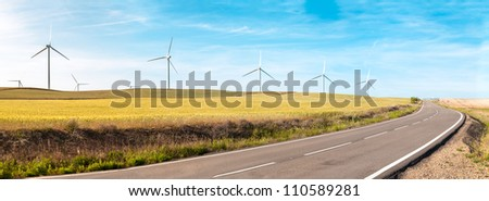 Wind turbine on green and yellow field. Empty road in foreground, blue sky with clouds in background. Alternative energy source, production and power generation. Ecology and freedom concept. Panorama.