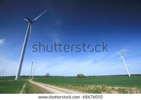Wind turbine on the green field. Wide angle.