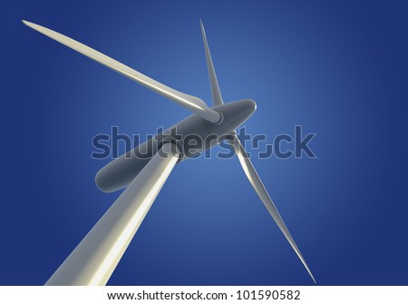 Wind turbine or generator viewed from below against blue sky