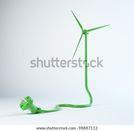 Wind turbine power cord - renewable energy concept - stock photo