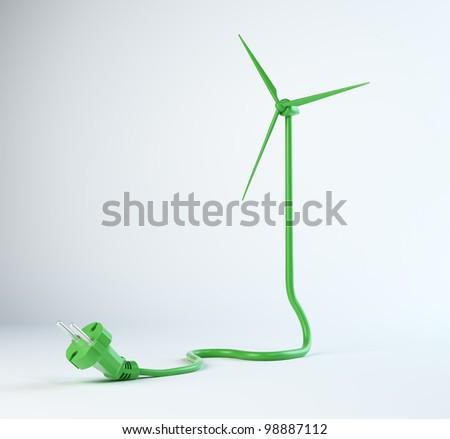 Wind turbine power cord - renewable energy concept