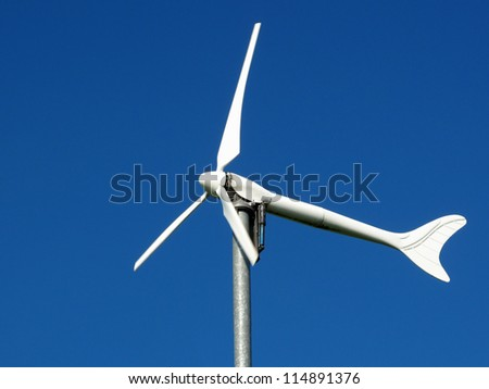 Wind turbine, renewable energy source for every home. Close up view.