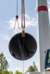 Wind turbine tower under construction