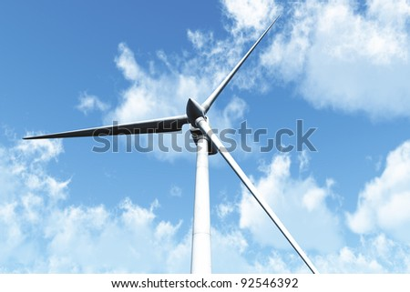 Wind Turbine under cloudy blue sky 3D render Energy Concept