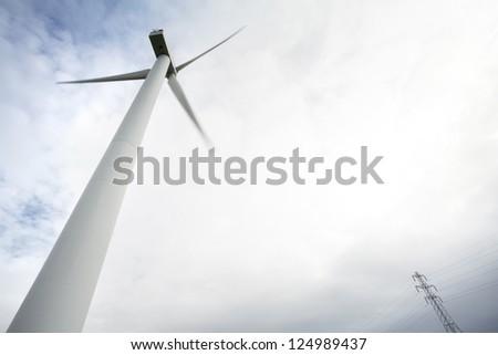 Wind Turbine with electricity pylon