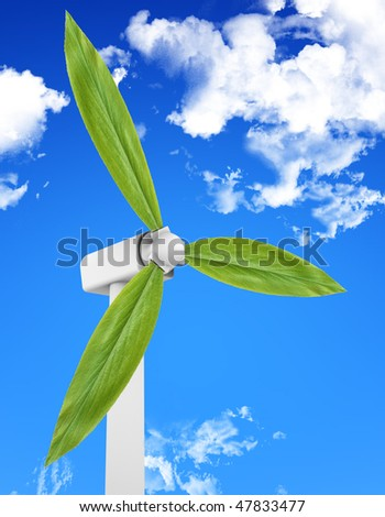 Wind turbine with leaves producing energy. Image concept.