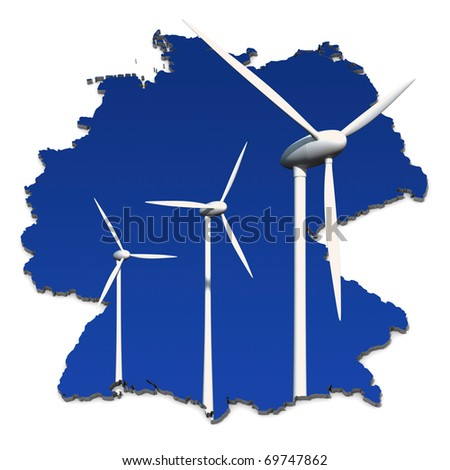Wind turbines against a blue background in an abstract map of Germany