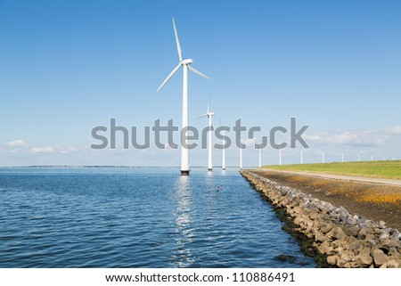 Wind turbines along the Dutch coast