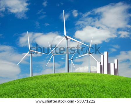 Wind turbines and city of the future