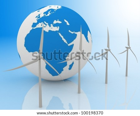 Wind turbines and earth, isolated on white background. - stock photo