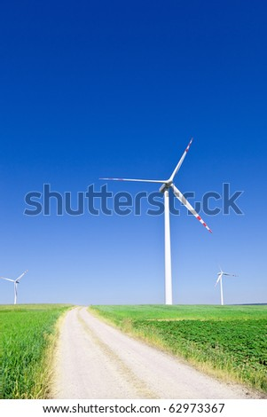 wind turbines and empty country road