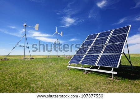 Wind turbines and solar panels,Green environment.