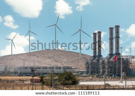 Wind turbines and the plant