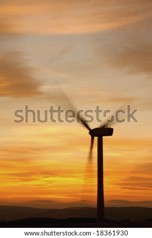 Wind turbines at sunset, Scotland