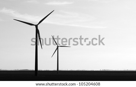 Wind turbines b/w - stock photo