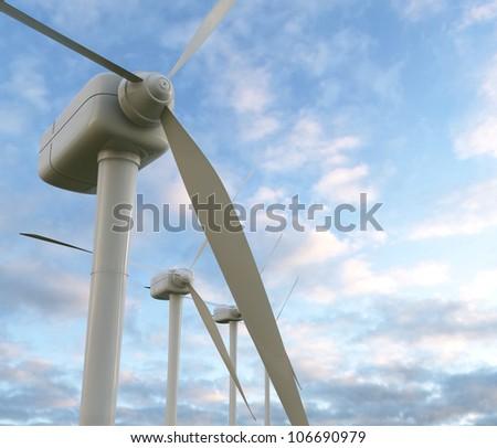 wind turbines 3D render