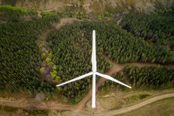 Wind turbines drone aerial view renewable energy on the middle of clouds in Serra da Lousa, Portugal