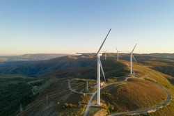 Wind turbines drone aerial view renewable energy on the middle of Serra da Freita Arouca Geopark, in Portugal