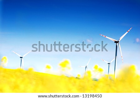 Wind turbines. Energy. Beautiful meadow