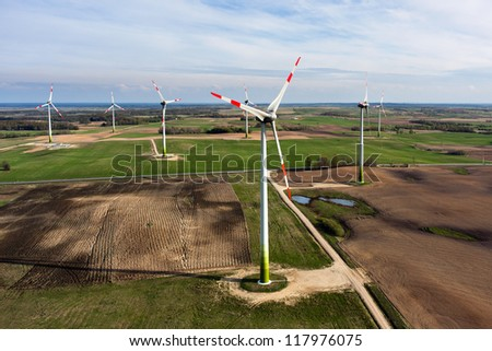Wind turbines farm, aerial view