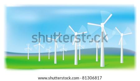 Wind turbines farm. Alternative energy source. Raster version.