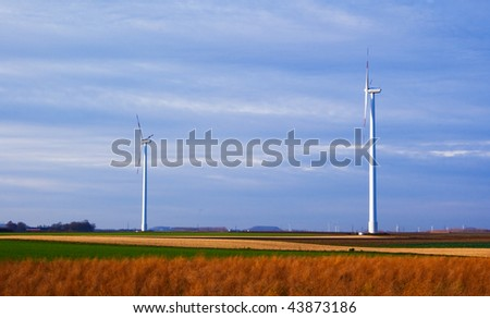 Wind turbines farm in Germany