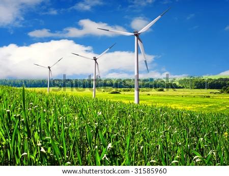 Wind turbines farm in summer