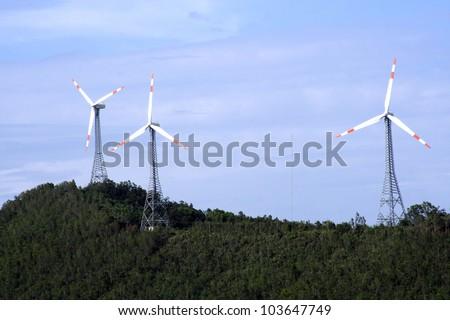 Wind turbines farm on a hill,India